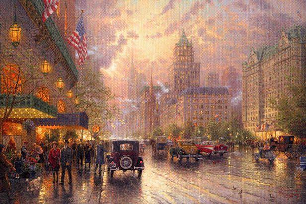 Thomas Kincade- New York, Fifth Avenue: York 5Th, Thomas Kincaid, Kinkade Art, Thomas Kincad, 5Th Void, New York, Thomas Kinkade, Kinkade Paintings, Artthoma Kinkade