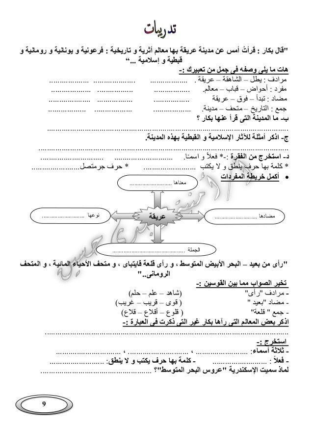 بوكلت شرح منهج اللغة العربية الجديد للصف الرابع الابتدائى الفصل الد