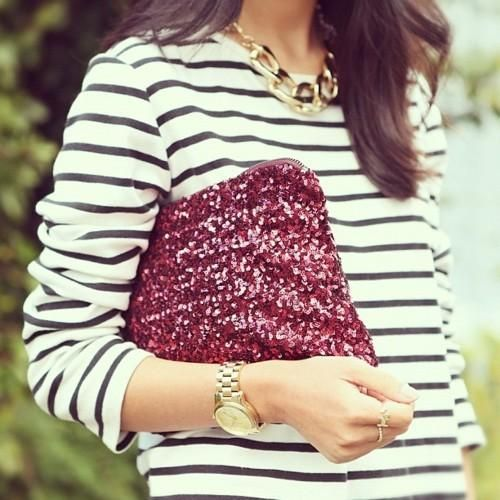 love this look for fall {touch of sparkle + stripes}Fashion, Sequins Clutches, Statement Necklaces, Chic Street Style, Stripes Tops, Saia Mini-Sequins, Clutches Bags, Glitter, Burgundy
