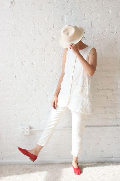 Ichi Antiquites Tino Linen White Pants