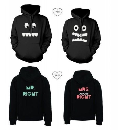 365 In Love His and Her Matching Hooded Sweatshirts Mr Right and Mrs Always Right Couples Hoodies, Women's, Size: MEN-L, WOMEN-XL, Black