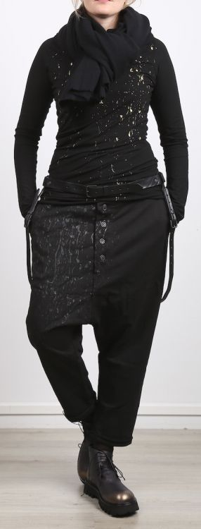 rundholz dip - Hose Sweater mit Knopfleiste und Manschette black spot - Winter…