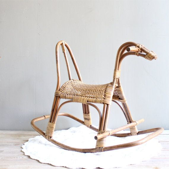 RESERVED  Vintage Wicker Rocking Horse by lovintagefinds on Etsy, $115.00