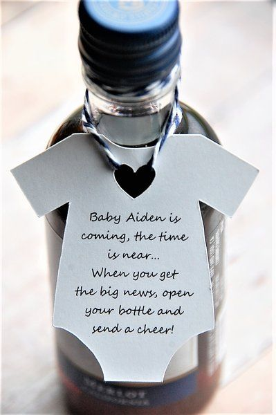 Baby is coming the time is near when you get the big news open your bottle and send a cheer ~ Mini Wine Bottle Thank You ~ Mini Champagne Party Favor ~ Baby Shower Thank You Gift Tags ~ Onesie Gift Tags ~ Personalized ~ KendollMade