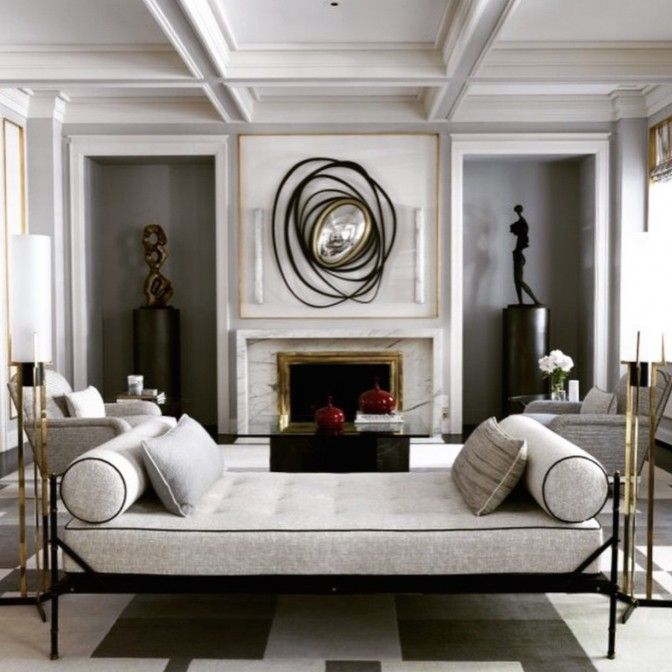 Fireplace The Mix Of Modern With Antiques For Interiors With Inspiring Decoration Jean Louis Deniot