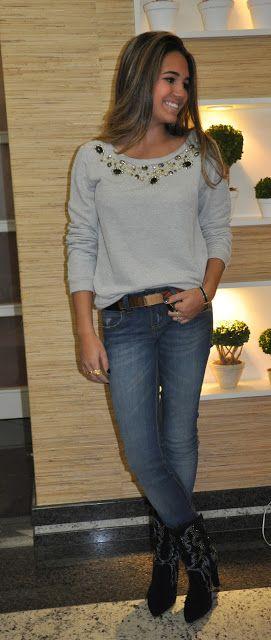 Santo Bom Gosto: Look Da Noite- Isadora (Jeans + Moleton Bordado)