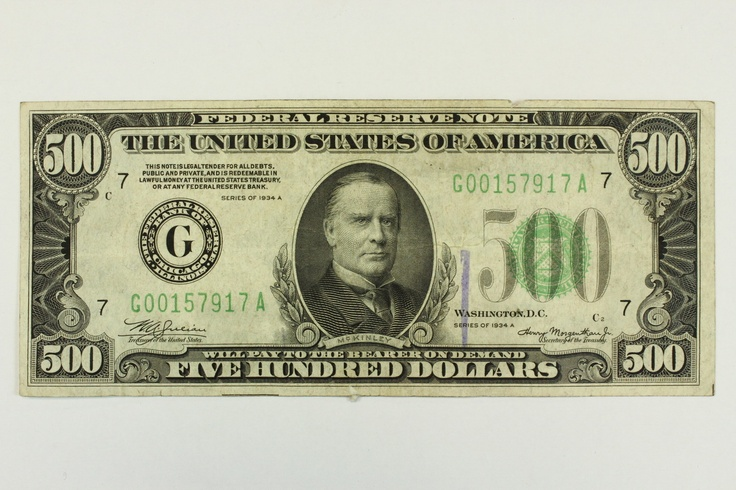 1934 A Five Hundred Dollar Bill Federal Reserve Chicago Note Green Seal