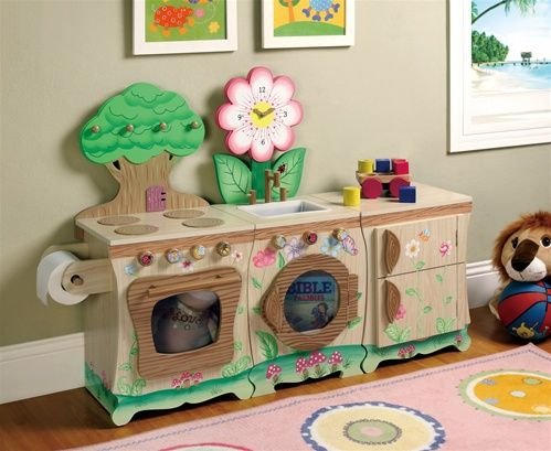 How cute is this play kitchen!!!  Holiday #Gift Ideas: Unique Play Kitchens