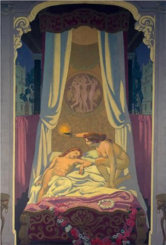 Psyche discovers that her mysterious lover is Eros, Maurice Denis 1908 #art #amoreepsiche #enicultura
