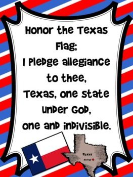 This brightly colored red, white, and blue poster will be perfect to help your students honor the Texas Flag!