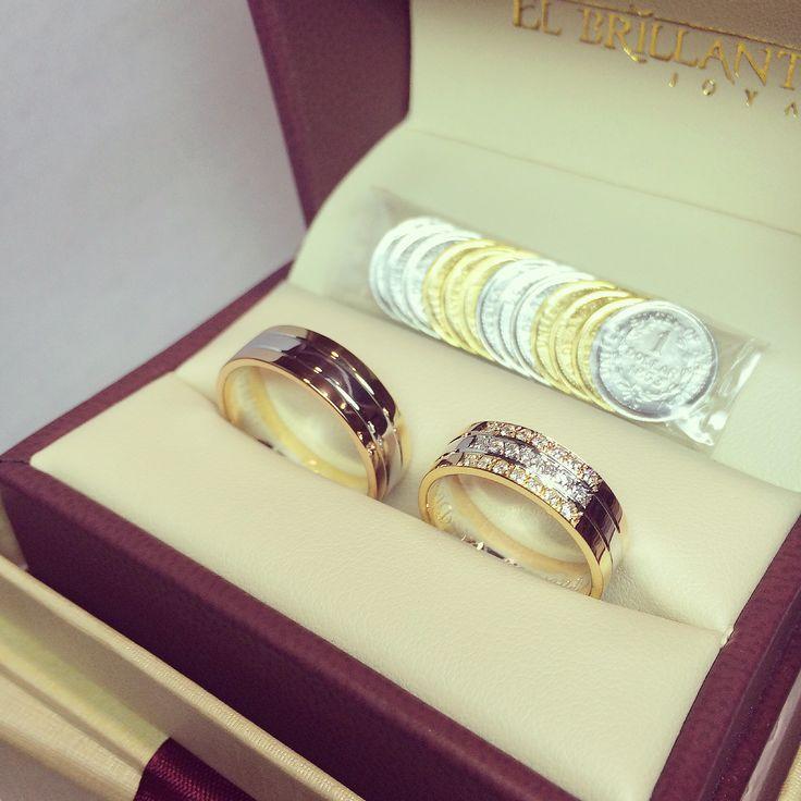 Argollas en 3 oros y 21 diamantes    www.elbrillantejoyeria.com.co