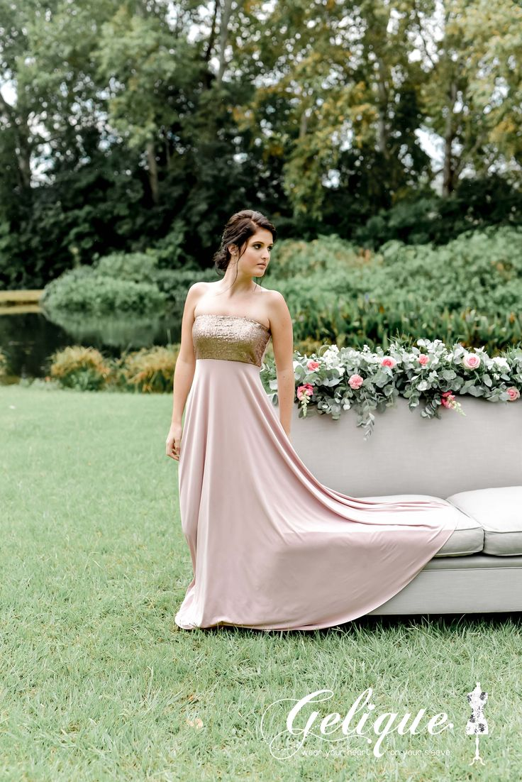 Boobtube Gelique bridesmaids dress available in a variety of sizes and colours from Brides of Somerset. Glitter bodice. Dusty pink and rose gold dress. Long, knee-length or short available.