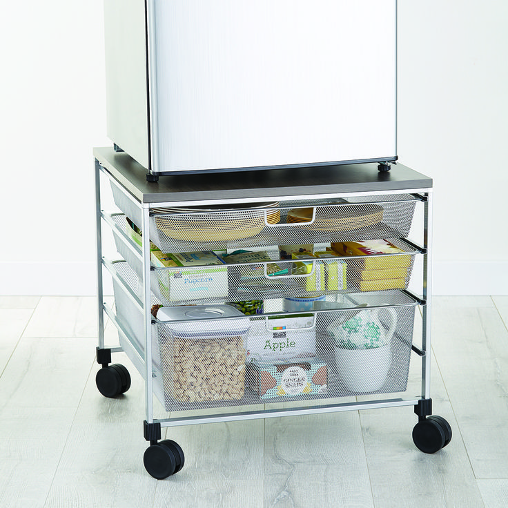 Previous 1 of 2 Next VIEW ALL Platinum Mini Fridge Cart VIEW LARGER Platinum Mini Fridge Cart& Platinum elfa Mesh Compact Fridge Cart This cart makes the perfect accessory for a mini refrigerator in a dorm room, office...anywhere! It features two 1-Runner Mesh Drawers and one 2-Runner Mesh Drawer for holding snacks, napkins or plates. The tight mesh and closed corners of the drawers prevent smaller items from falling through.