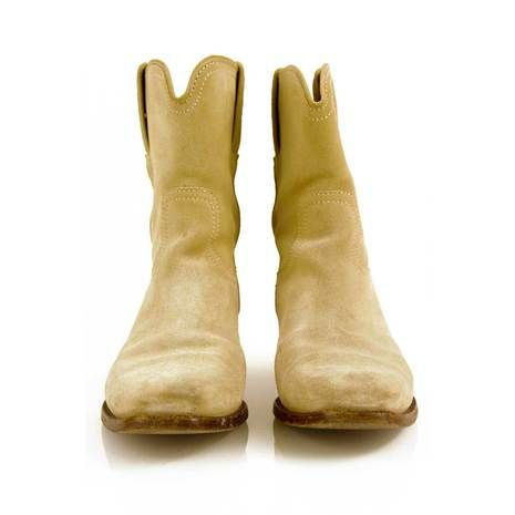 Gucci Cream suede ankle cowboy boots shoes booties 37.5 C with dust bags