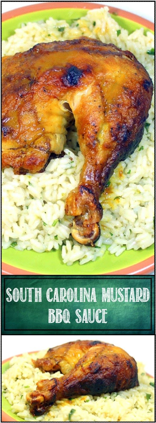 """South Carolina Mustard BBQ Sauce on a Rotisserie Chicken Quarter NOTHING COULD BE EASIER. The recipe for the sauce is a simple, """"Add Ingredients in a Jar and Shake like Heck"""" sauce. No cooking but BIG in payoff. Turns a simple Store Bought Pre-Cooked Bird into a Special Occasion Dinner!"""