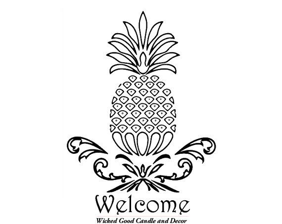 vinyl decal welcome pineapple by wickedgooddecor on etsy   8 99