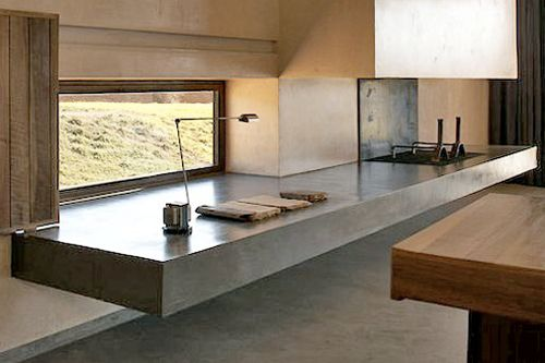 Floating fireplace almost thought its kitchen, which woul be pretty cool as well