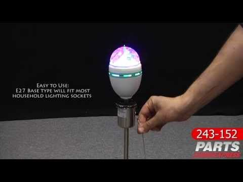 Lavolta Crystal Ball Effect - E27 Base will fit most household lighting sockets, Three RGB LEDs with rotating prism, Sound activated to flash with music, $9.96!