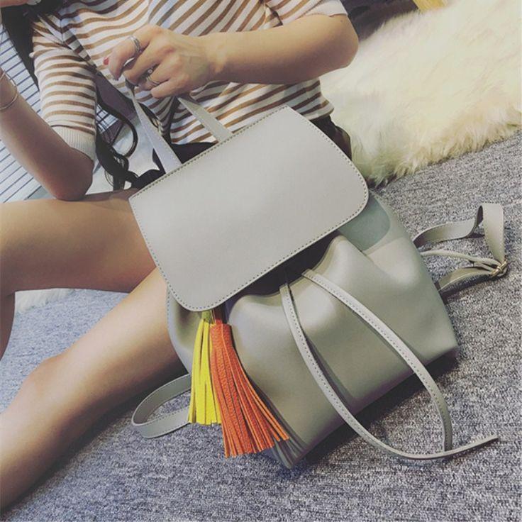 Brand Fringe Women Backpacks Preppy Style Woman Shoulder Bags for School Girls Backpack Black Ladies Bag Womens Leather Backpack #Affiliate