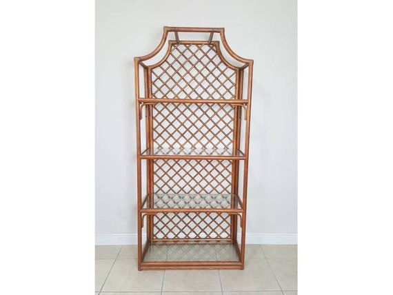 Rattan Pagoda Top Etagere Vintage Shelf Chinoserie Bamboo Shipping