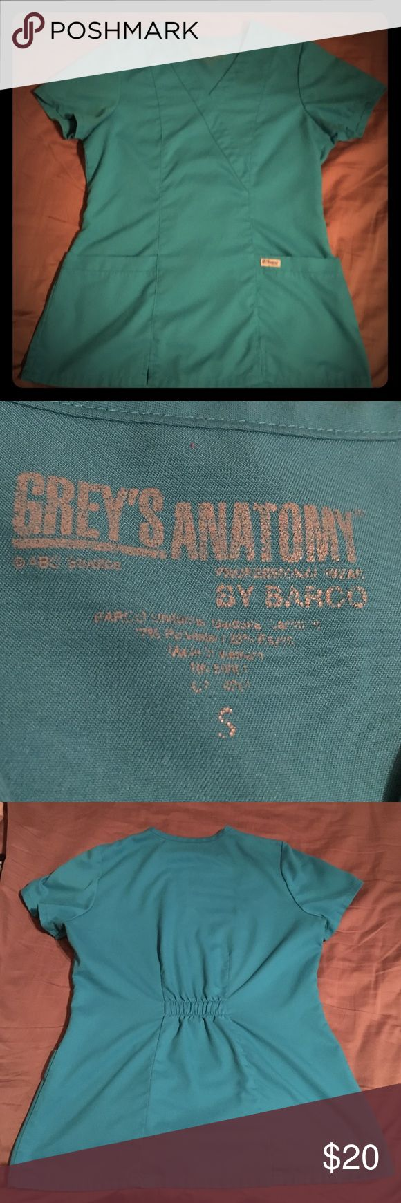 Greys Anatomy Scrub Top Teal Greys Anatomy scrub top size small. Two pockets in front. Very comfortable! Grey's Anatomy  Tops