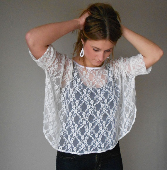 Box tee White stretch lace Oversized with curved by birdapparel