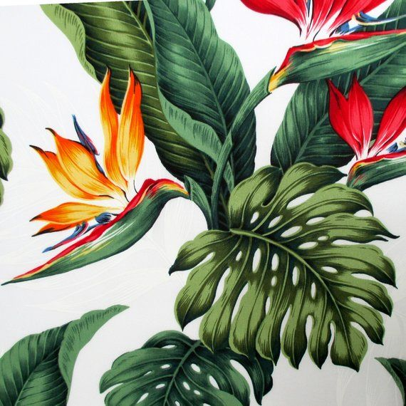 Fabric Leilani Bird Of Paradise Tropical Floral On White Hawaiian Flowers And Leaves By The Ya Birds Of Paradise Flower Birds Of Paradise Hawaiian Flowers
