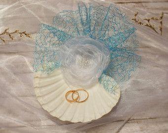 Seashell boda anillo portador almohada anillo soporte por LaivaArt