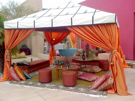 love the tent with the curtains and throw in some pillows, oh so fun!