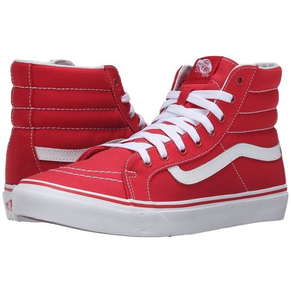 Vans SK8-Hi Slim (Racing Red/True White) Skate Shoes ($48) ❤ liked on Polyvore featuring shoes, sneakers, red high tops, vans shoes, red hi top sneakers, leather high top sneakers and vans high tops