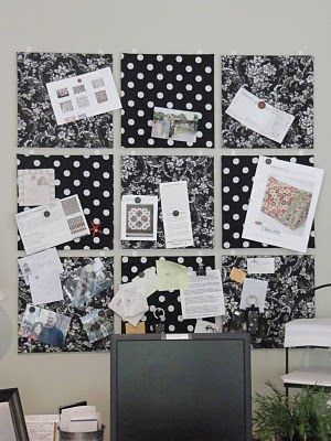 Inspiration Boad - simple corkboard covered in fabric with spray on adhesive - priceless and coordinated