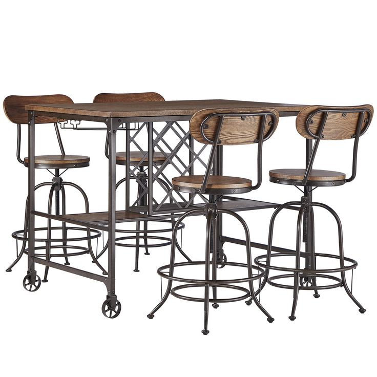 tribecca home berwick industrial style pub dining set with wine rack overstock