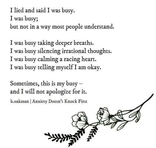 The sad truth when struggling with anxiety. Makes me feel like such a bad friend most of the time but it's a hard thing to fight.
