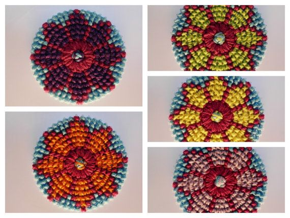 Set of 5 handmade mandala flowers for christmas ornament, coaster, pendant, dreamcatcher or wall decoration.  Decorate your christmas tree with