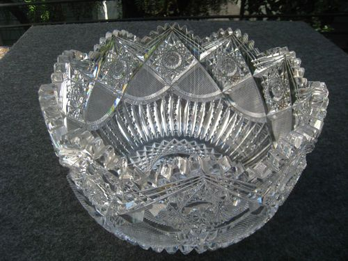American Brilliant Period Antique Hand Cut Lead Crystal Glass Punch Fruit Bowl Punch Fruit