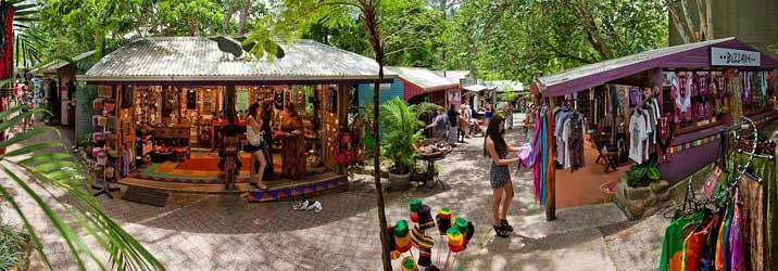 Kuranda is a small rainforest village nestled high in the mountains North of Cairns. Markets, cafes, shops of interest, themed attractions and more!
