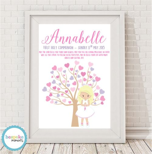 Pastel First Holy Communion Tree Print by Bespoke Moments. Worldwide Shipping Available.