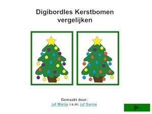 digibordles vergelijkingen kerst en andere materialen rond kerstbomen