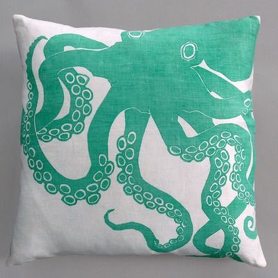 Dermond Peterson Octopus Turquoise Pillow on White Linen