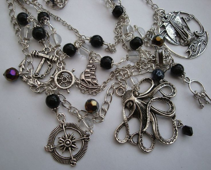 Pirate charm necklace, layered nautical black beads, octopus ship anchor compass silver charms statement by PirateTreasures on Etsy https://www.etsy.com/listing/225562262/pirate-charm-necklace-layered-nautical