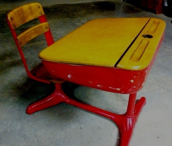 1940s Vintage American Seating School Desk With Inkwell For The Home Desks Old