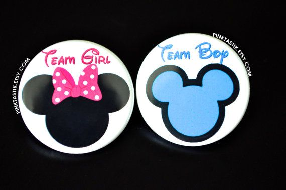 Gender Reveal Buttons  Mickey Baby Minnie Baby by PINKTASTIK