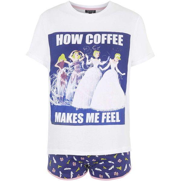 TOPSHOP Cinderella Print Pajama Set ($40) ❤ liked on Polyvore featuring intimates, sleepwear, pajamas, blue, topshop and blue pajamas
