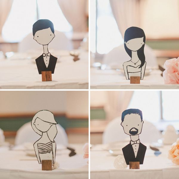 Caricatures of wedding attendants. Also, I spelled that without checking.