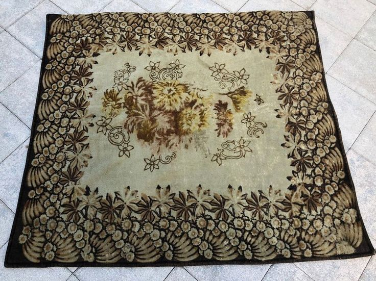 Antique CHASE Horse Hair Carriage Seat Blanket Car Lap Floral Brown Amish  Sleigh