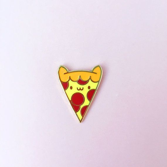 Pizza Cat Enamel Lapel Pin by thepinksamurai on Etsy