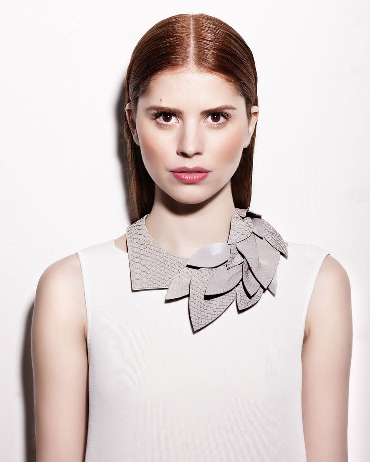 Daniel Havillio leather bib necklace. Edenia, necklace in python skin. Remarkable Leather Jewelry.