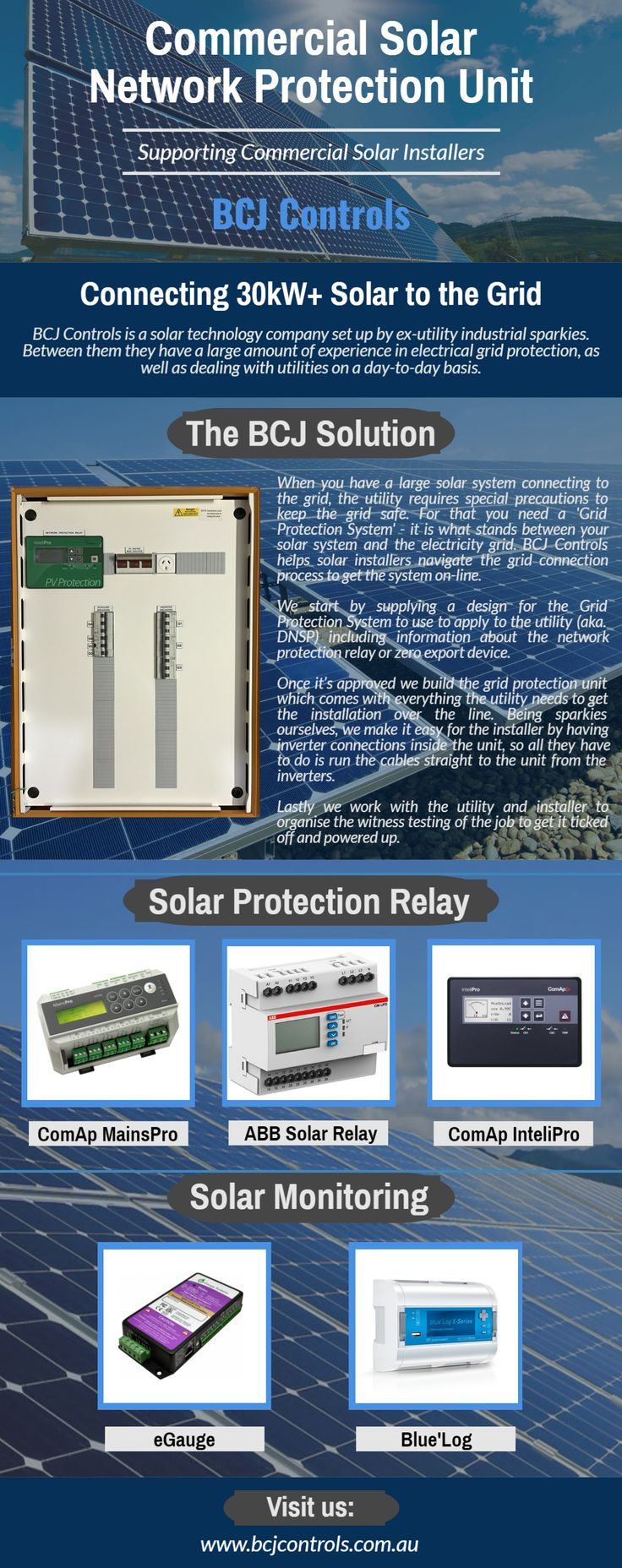 BCJ Controls based in Australia have done a lot of works in Electrical field. Offering Solar Protection Relays Installation, Witness Ausgrid Testing, Switchboard, and other Electrical works. Visit us for more details and more relays with quality features and functions: http://bcjcontrols.com.au.  #SolarProtectionRelay #ComapMainsPro #MainsPro #eGauge #eGaugeAustralia #BlueLog #BlueLogDataLogger #ComApIntelliPro #ComApInteliPro