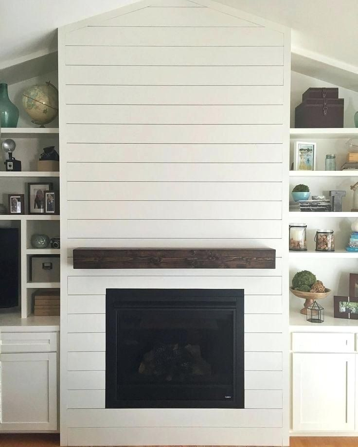 Image Result For Wood Beam Floating Mantel With Shiplap Home