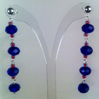 Midnight Blue Grand - Featuring a mix of imperial crystals and japanese toho seed beads, finished using sterling silver components and sterling silver ball studs  Length: 5.5cm drop